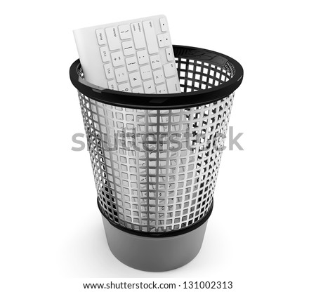 Old PC keyboard in metal trash bin on a white background