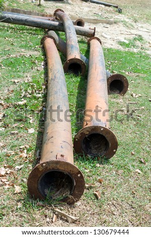 old PE. pipes on ground