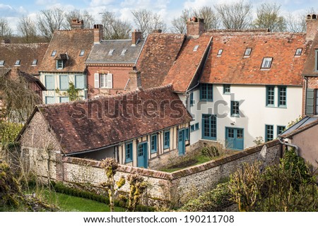 Old peasant's houses in Gerberoy, Oise, France - stock photo