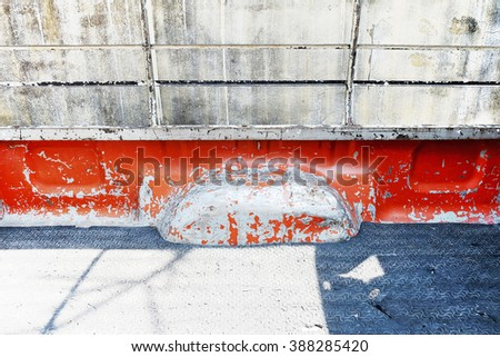 Old peel rusty seat behind back of red  retro vintage pickup truck  - stock photo