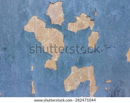 Old peeling paint and dirty on old blue concrete wall background - stock photo