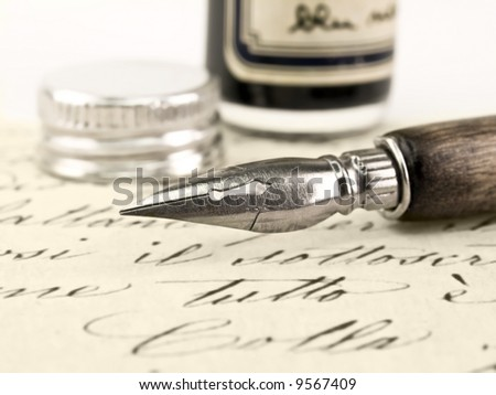 Old pen and beautiful retro calligraphy.