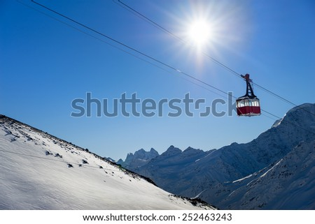 Old pendulum cableway for transport large numbers of people in mountains Caucasus