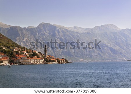 Old Perast town landscape, Kotor Bay, Montenegro - stock photo
