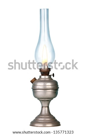 Old petrol lamp on white