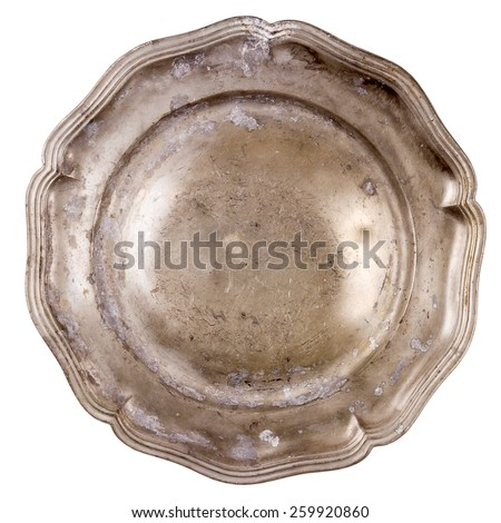 Old pewter plate isolated on white background   - stock photo