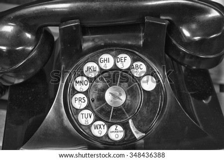 Old Phone - Antique Rotary Dial Telephone - stock photo