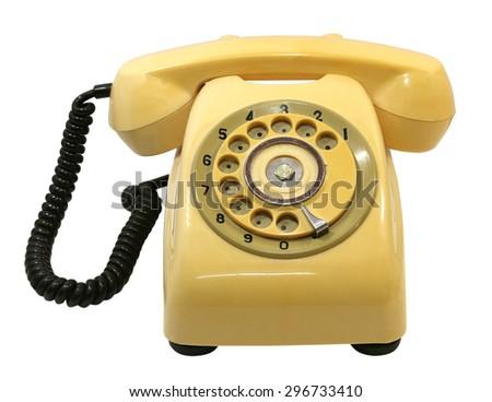 Old phone isolate on white background - stock photo