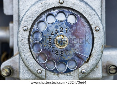 old phone public (fragment - drive for dialing) - stock photo