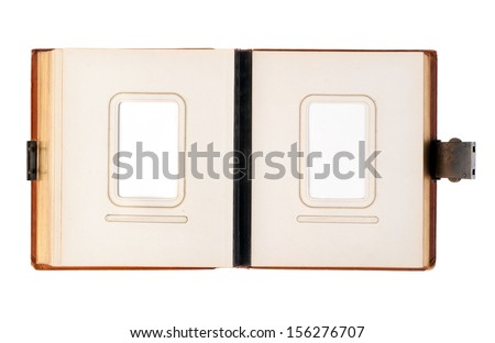 Old photo album isolated over white background