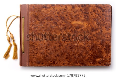 Old photo book on white background - stock photo