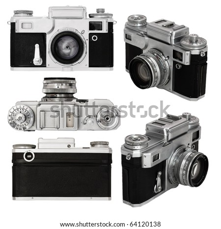 old photo camera set isolated on white background with clipping path - stock photo