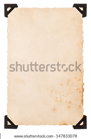 old photo card with black corner isolated on white background - stock photo