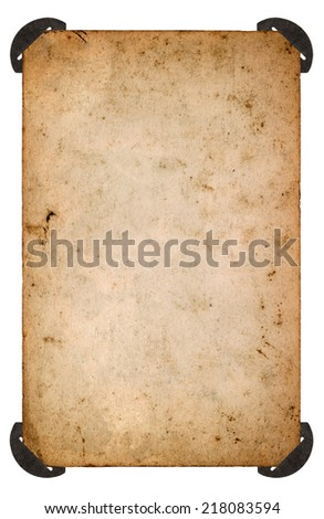 old photo card with corner. aged blank paper sheet isolated on white background. retro style toned picture - stock photo