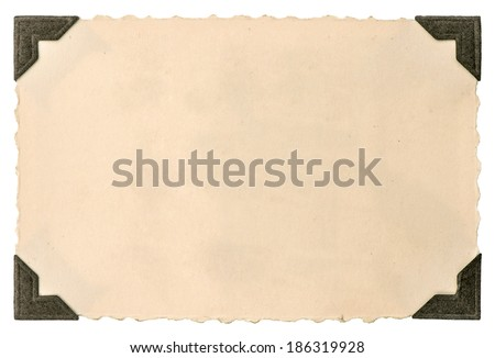 old photo card with corner isolated on white background - stock photo