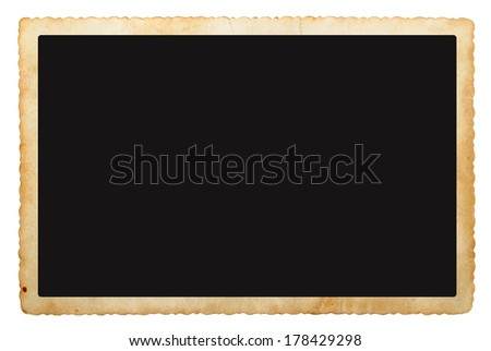 Old photo frame isolated on a white - stock photo