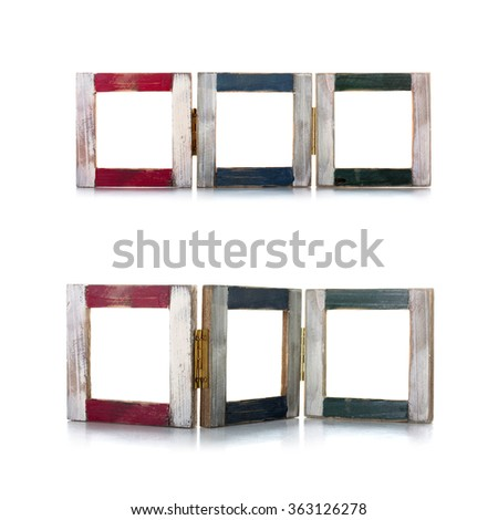 old photo frames of different colors are connected together. collage - stock photo