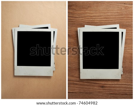 Old photo frames on the old paper and wooden background - stock photo
