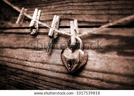 Old photo happy valentine's day in love lock and keys background