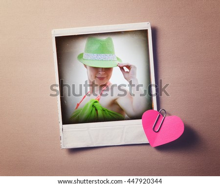 Old photo of a beautiful woman in retro style. - stock photo