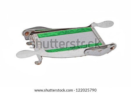 Old photo paper cutter, isolated over white background - stock photo