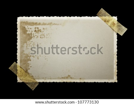 Old photo paper on balck background with clipping path for the inside - stock photo
