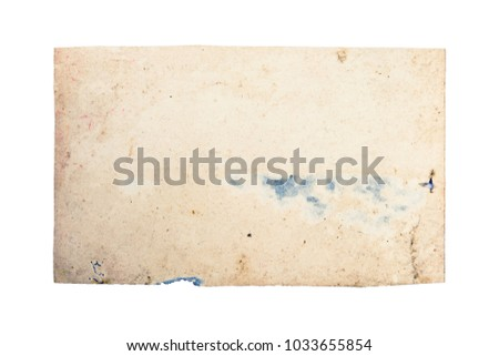 Old photo texture with stains and scratches. Vintage and antique art concept. Front view of blank old aged dirty frame with stains isolated on a white background. Detailed closeup studio shot.