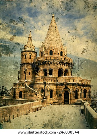 Old photo with Fisherman's bastion at Buda Castle in Budapest, Hungary. Detail in winter. - stock photo