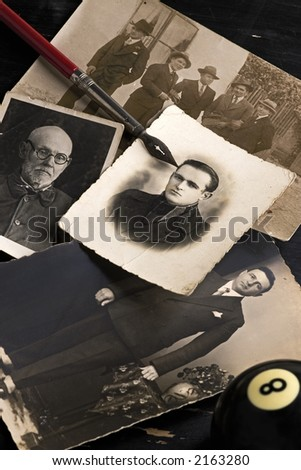 old photographs on the table