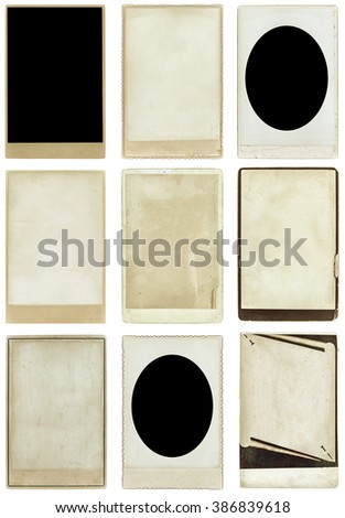 old photos collection, isolated, clipping path - stock photo