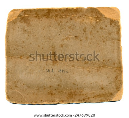 old photos grunge paper card back isolated on white - stock photo
