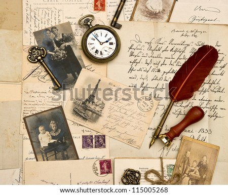 old photos, letters and post cards. nostalgic vintage paper background