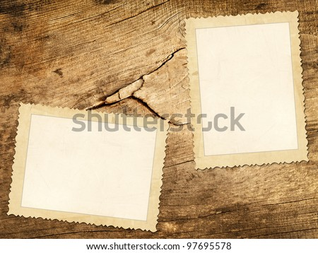 Old photos over the wooden background - stock photo