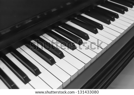 Old piano (black and white) - stock photo