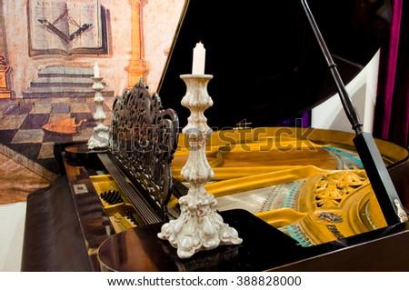 Old piano. Interior room the Freemasons.  - stock photo