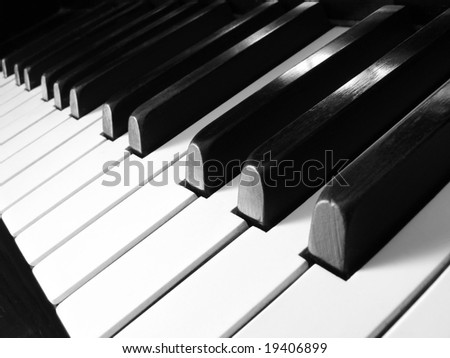 old piano keyboard fragment - stock photo