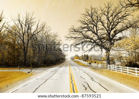 Old Picture Design - American Country Road