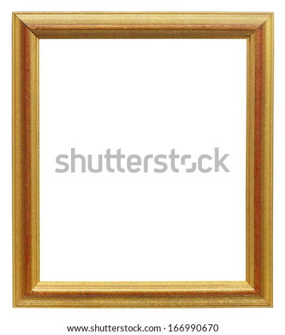 Old picture frame isolated on white with clipping path - space for copy - stock photo