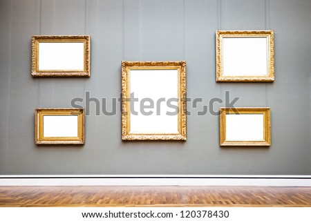 old picture frames at a museum - nice background with copy space - stock photo