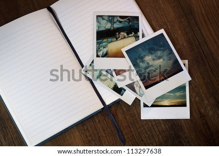 Old Pictures and Journal - stock photo