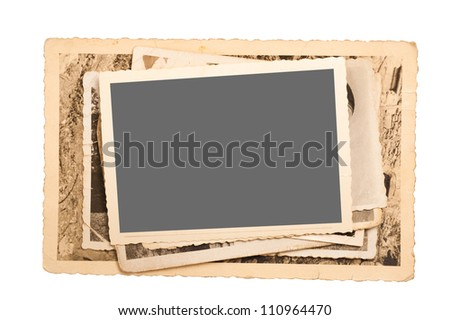 old pictures frame isolated on white - stock photo