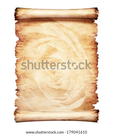 Old piece of parchment paper with romantic rose floral design artistic letter background - stock photo