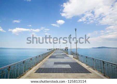 Old pier, Bulgaria - stock photo