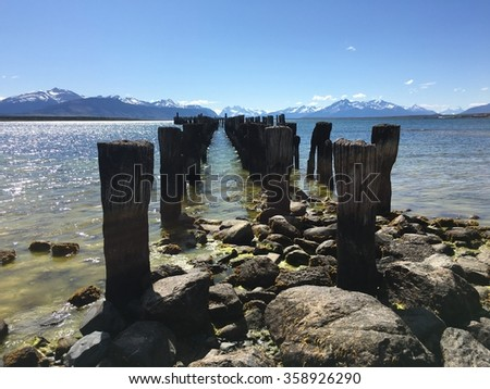 Old pier in Puerto Natales, Chile - stock photo