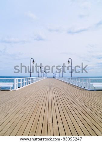 old pier on Baltic sea, Orlowo, Gdynia, Poland - stock photo