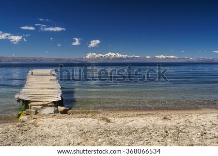 Old pier on the coast of Isla del Sol, island on lake Titicaca in Bolivia
