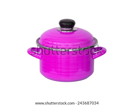 Old pink metal cooking pot isolated on white - stock photo