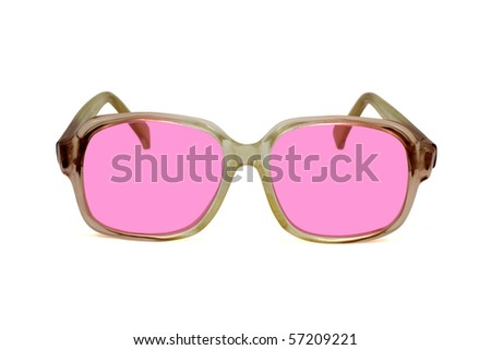 old pink sunglasses ,isolated on white background - stock photo