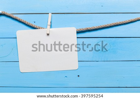Old pins on rope with copy space