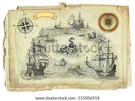 Old pirate map - stock photo
